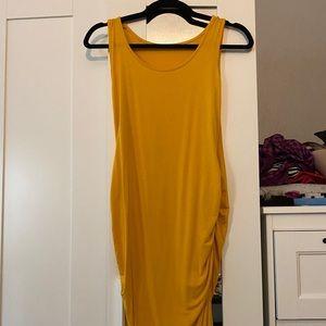 Dresses & Skirts - Mustard Yellow Ruched Maternity Dress